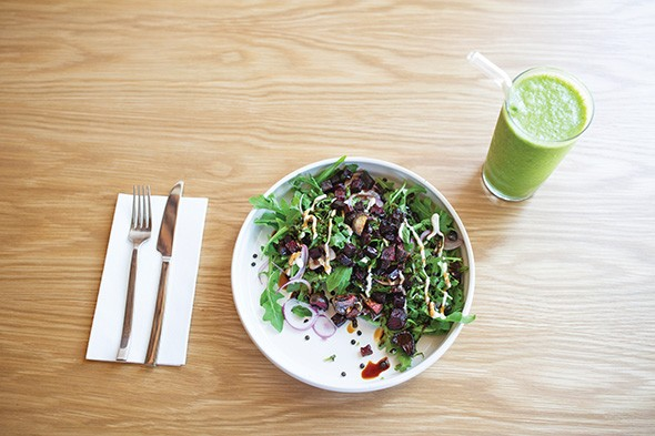 The Ironman salad contains arugula, black lentils, roasted beets, red onion, basil, tahini and balsamic glaze and a smoothie. - ALEXA ACE