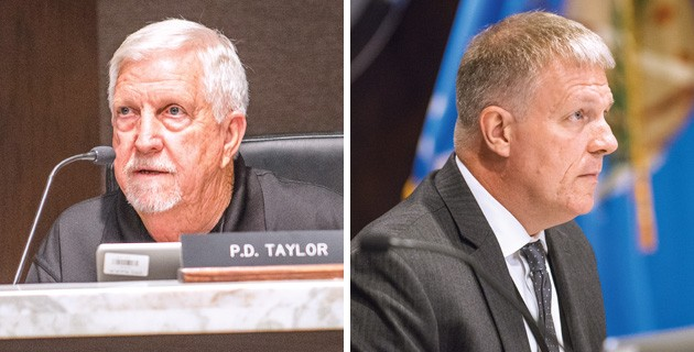 left Sheriff P.D. Taylor said the decision to hire an outside administrator is premature. right Kevin Calvey, county commissioner and trustee, said the decision was a long time coming. - MIGUEL RIOS