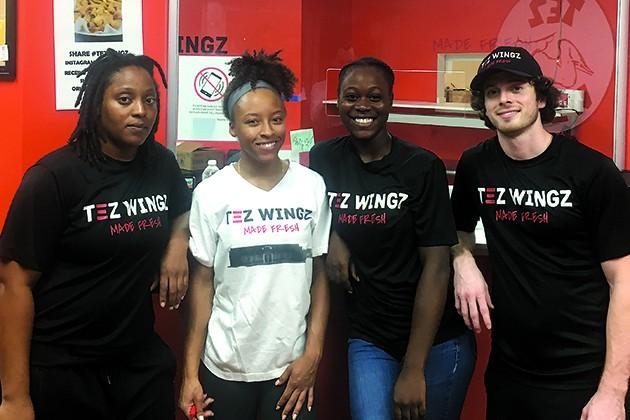 from left Tez Wings employees Terissa Jordan, Miracle Lennox, DeAnn Gabriel and Matthew Freund - JACOB THREADGILL