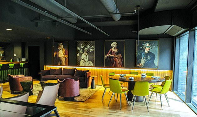 Artwork overlooks the second story of Bar Cicchetti that blends dining and lounge areas. - PHILLIP DANNER