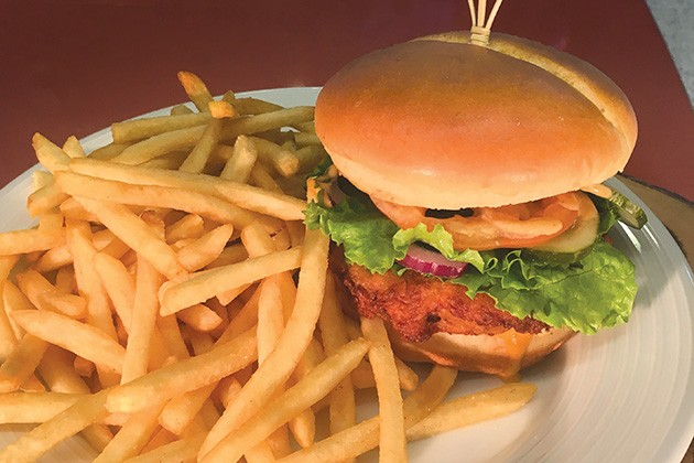 Country-fried Rumble Theta burger from Budweiser Brewhouse - JACOB THREADGILL