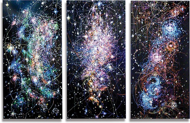 Paintings from Kysa Johnson's The Long Goodbye illustrate the life cycle of stars using the formula for charting subatomic decay. - PROVIDED