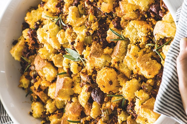 Chorizo cornbread dressing from Isabel Eats - ISABEL OROZCO-MOORE / PROVIDED