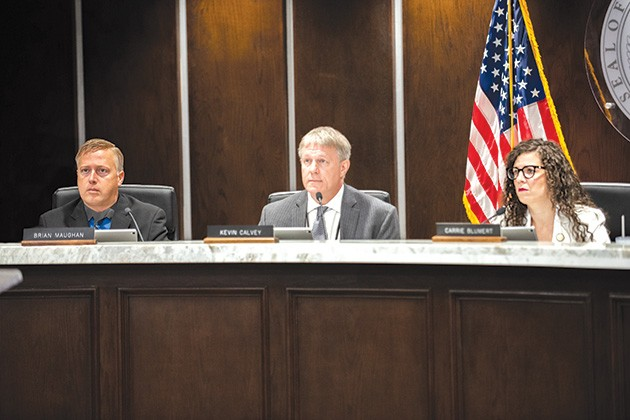 After a 2-1 vote, with District 2 commissioner Brian Maughan as the sole opposition, county commissioners will let residents decide whether or not to allow county liquor stores to operate on Sundays. - MIGUEL RIOS