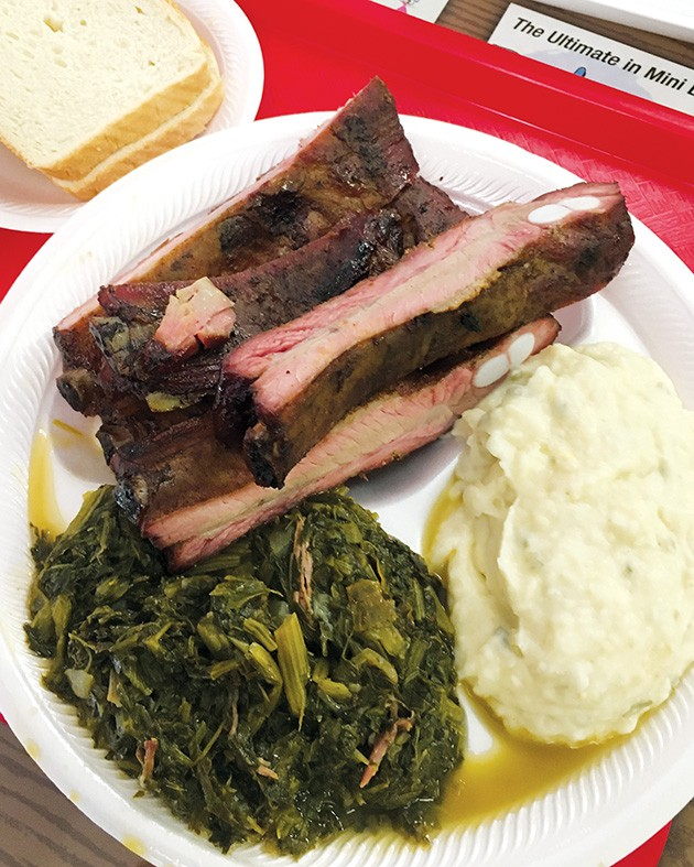 """A rib dinner at George's Happy Hog Bar-B-Q with """"marvelous"""" mixed greens and """"perfect"""" potato salad - JACOB THREADGILL"""