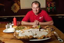 The chicken-fried steak dinner crowds over the edge of the platter on which it's served. It was the star of the meal for flavor and texture.