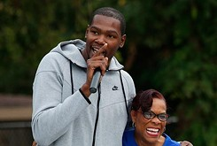Kevin Durant opens a new basketball court at North Highland Elementary