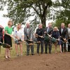 City of Oklahoma City leaders, Midtown stakeholders and SoSA neighbors turned some     dirt to symbolize the next chapter in the life     of Red Andrews Park at a ground breaking     ceremony Aug. 1 | Photo Garett Fisbeck