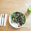 The Ironman salad contains arugula, black lentils, roasted beets, red onion, basil, <i>tahini</i> and balsamic glaze and a smoothie.