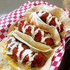 Buffalo chicken tacos with macaroni and cheese
