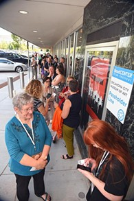 A line of people wait outside the OKCMOA to attend the screening of Rolling Papers during the DeadCenter Film Festival, 6-11-2015.  Mark Hancock