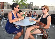 From left, Abby Castro Kelli Epperson, attending the OKCMOA opening night rooftop party for the DeadCenter Film Festival, 6-11-2015.  Mark Hancock