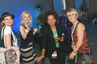 From left, Kassie Smith, Bobbi Castor, Catherine Anadu, and Denise Castelli, attending the OKCMOA opening night rooftop party for the DeadCenter Film Festival, 6-11-2015.  Mark Hancock