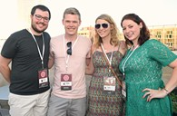From left, Clark Thomas, Shane Hampton, Kristen Vails, and Anna Farha, attending the OKCMOA opening night rooftop party for the DeadCenter Film Festival, 6-11-2015.  Mark Hancock