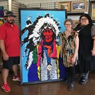"Mvskoke Creek and Seminole Artist Joe Hopkins, Artist/Owner Theresa Hurt and Frances Danger with ""Iron Shell"" at Carpe Artem Gallery - Uploaded by Carpe Artem"