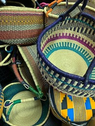 All Global Market merchandise is fair trade from artisans throughout the world. These baskets are from Ghana. - Uploaded by PAMBEGhana