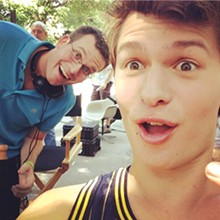 Author John Green on set with actor Ansel Elgort