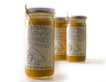 Bird and Bee honey, cultivated and bottled by artist Kim Fox. See more of her work at kimfoxart.wordpress.com