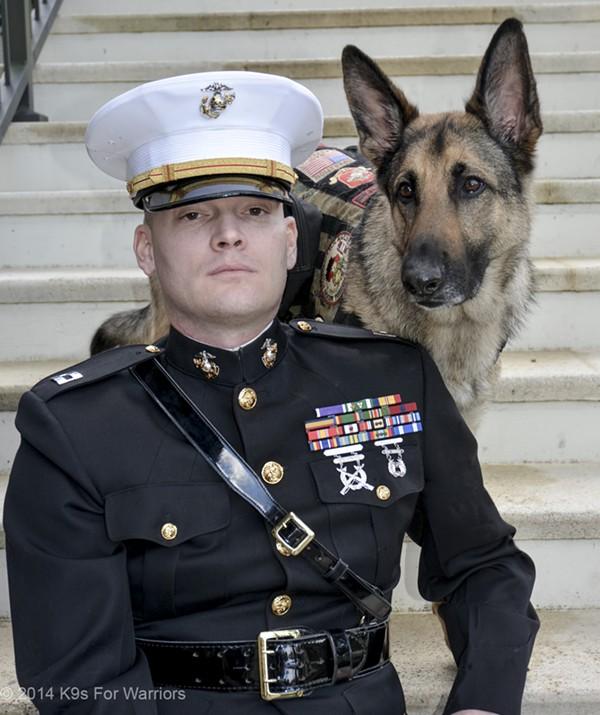 Capt. Jason Haag and Axel - PHOTO COURTESY OF K9S FOR WARRIORS