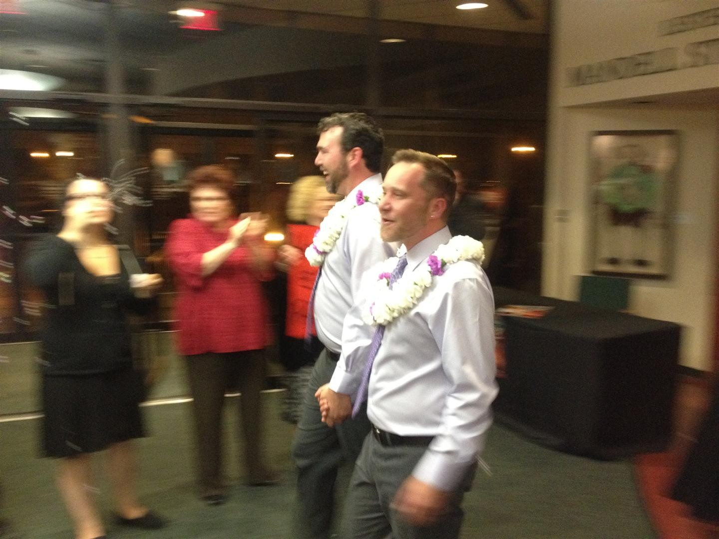 """Chad Lewis & Jason Donnelly emerge from the wedding following """"Prop 8 On Trial"""" at Orlando Shakes (2/11/12)"""