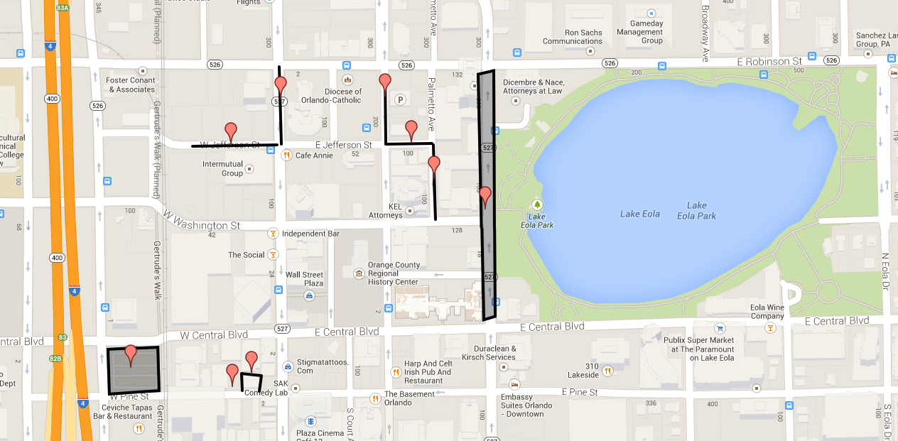 Map highlights free parking in downtown Orlando Blogs