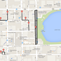 Map highlights free parking in downtown Orlando