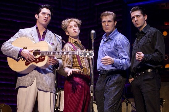 Cody Slaughter as Elvis Presley, Martin Kaye as Jerry Lee Lewis, Lee Ferris as Carl Perkins and Derek Keeling as Johnny Cash (photo copyright national tour of Million Dollar Quartet.)