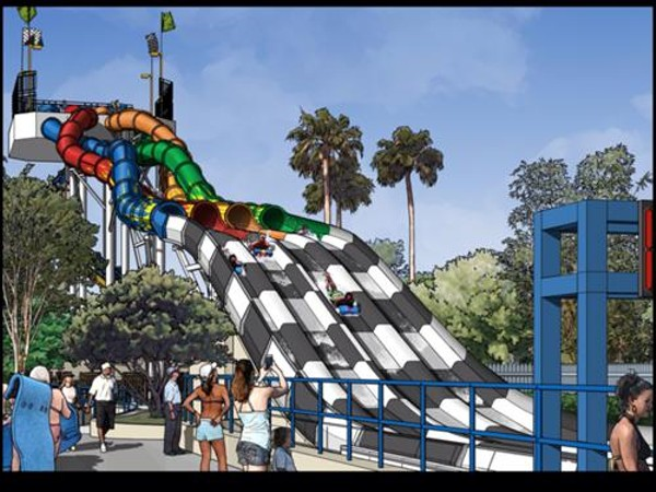 Concept art for Wet 'n' Wild's Aqua Drag Racers, opening Summer 2014
