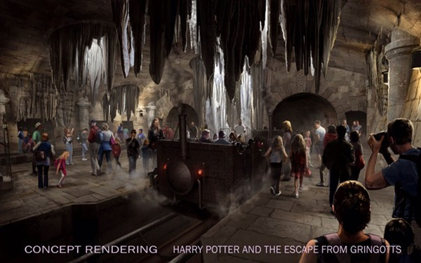 Concept art of the Gringotts ride boarding area (courtesy Universal Orlando)