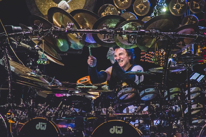 Drummed out: Terry Bozzio at the Plaza Live (photo by James Dechert)
