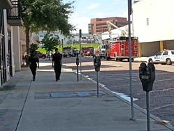 Emergency vehicles on the scene. Photo by Dave Plotkin.
