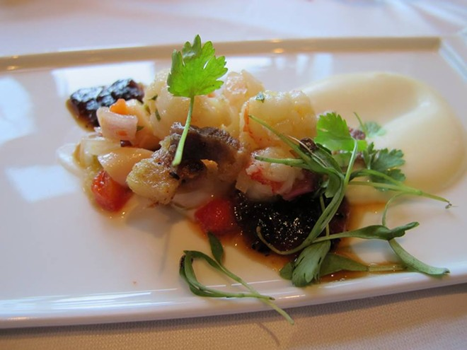 Florida rock shrimp escabeche, creamed parsnips, chicharrones, burnt onion jam (Jared Gross) - PHOTO BY FAIYAZ KARA