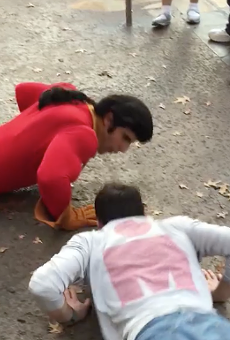 Gaston from Beauty and the Beast challenged to push-up contest (and also gets schooled by a little girl)