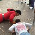 Gaston from <i>Beauty and the Beast</i> challenged to push-up contest (and also gets schooled by a little girl)