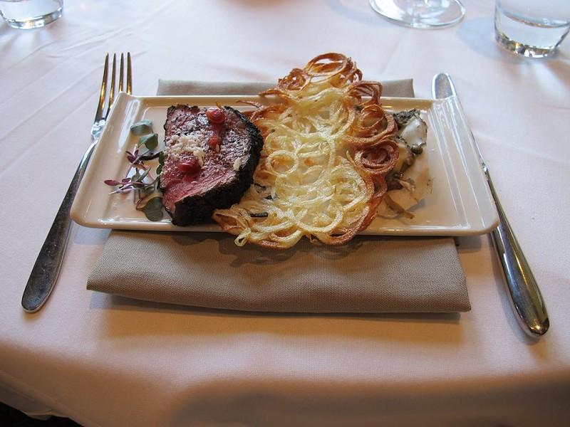 Illy espresso crusted beef tenderloin, roasted bone marrow mousseline, Hog Island oyster, crispy potato (Krueger) - PHOTO BY FAIYAZ KARA