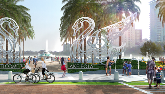 In Future Orlando, there will be giant foreboding swans guarding the gates of Lake Eola.