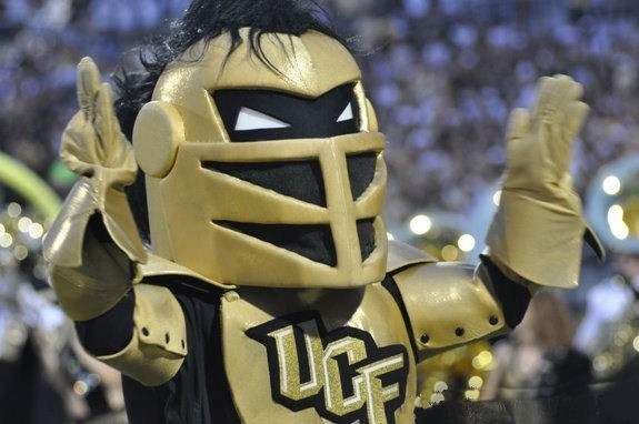 Knightro stokes the crowd at Bright House Stadium
