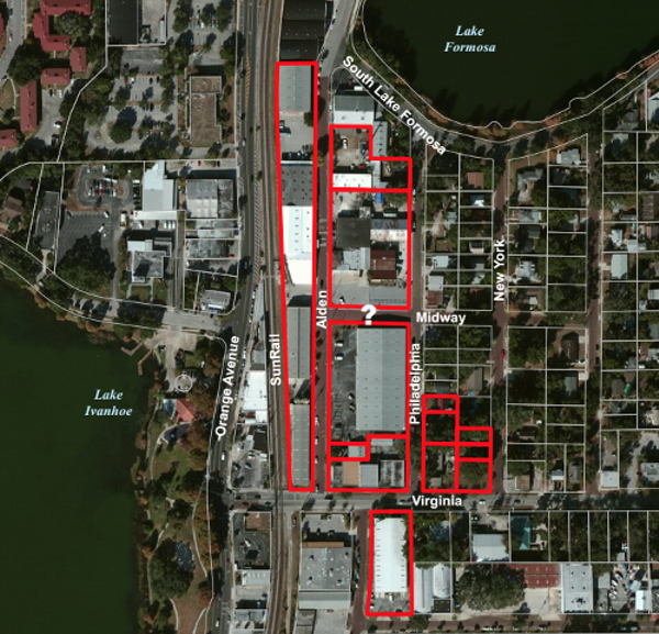 Map of properties owned by R-Kid that could be impacted by a proposed mixed-use development for Ivanhoe Village. Image courtesy Gordon Spears.