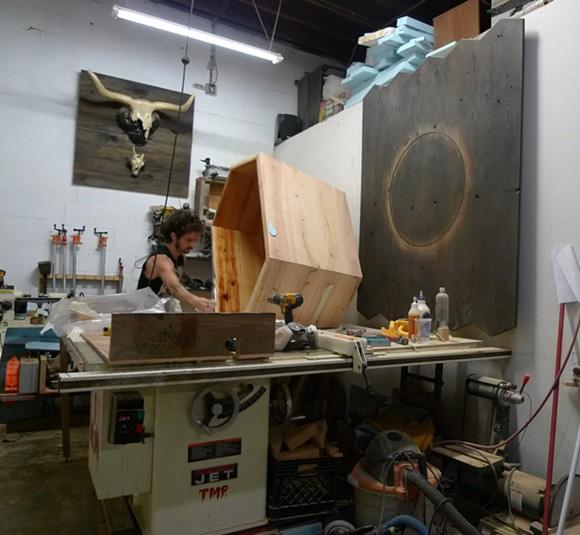 Maxwell Hartley at work in the woodshop - PHOTO COURTESY OF THE SPACE STATION