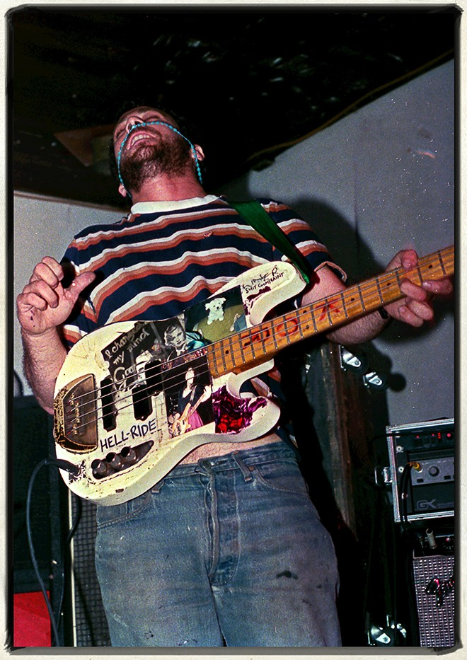 Mike Watt at Einstein-A-Go-Go, Jacksonville Beach, 1986. - JIM LEATHERMAN