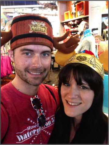 My fiancé, Josh, and me. He's a good sport.