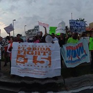 Orlando low-wage workers held a Fight for $15 demonstration today