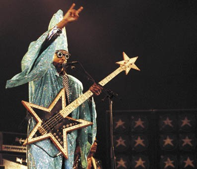 No, Bootsy's not playing. I just love this picture. None more funky.