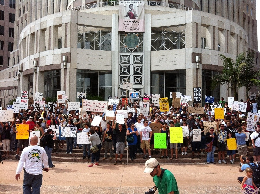 Occupy Orlando's stopped at City Hall during its first march on Oct. 15