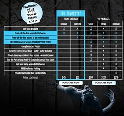 Pricing chart for Howl-o-Scream VIP packages (courtesy Busch Gardens Tampa)