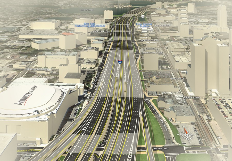 Rendering of I-4 through downtown