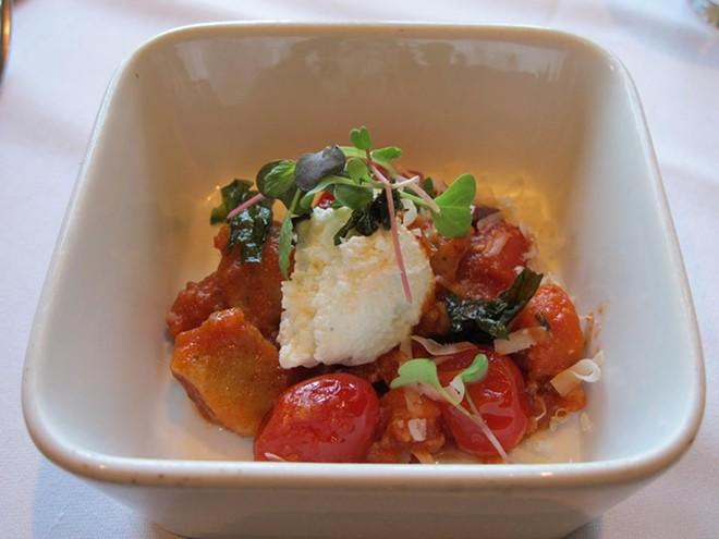 Root vegetable gnocchi, Palmetto Creek Farms pork ragu, house made ricotta cheese, fried garden basil (Fonzo) - PHOTO BY FAIYAZ KARA