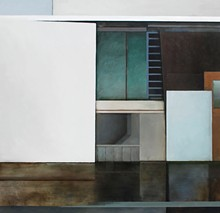Sacred and Profane - Jenny Brillhart's 'Saxony Hotel Continental and Cutouts' is one of the paintings on display in Lot Lines