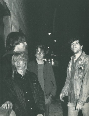 Sonic Youth in front of Einstein a Go Go in Jacksonville Beach in 1986 - PHOTO BY JIM LEATHERMAN