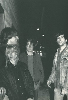 Sonic Youth in front of Einstein a Go Go in Jacksonville Beach in 1986